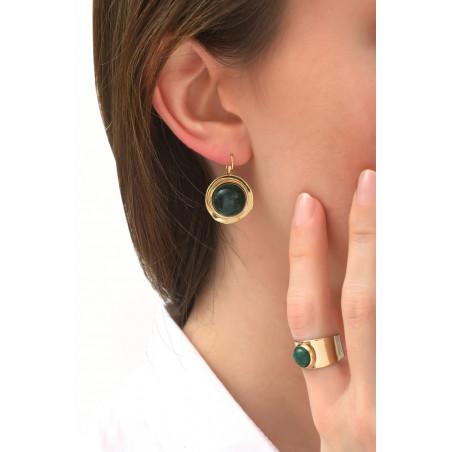 Boucles d'oreilles dormeuses modernes jaspe | kaki76085