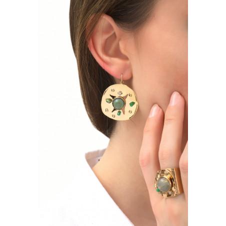 Boucles d'oreilles dormeuses féminines agate et jade | vert76086
