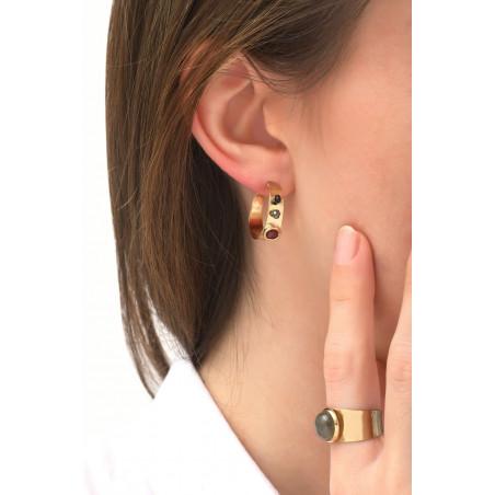 Boucles d'oreilles créoles percées chics grenat et onyx   noir76087