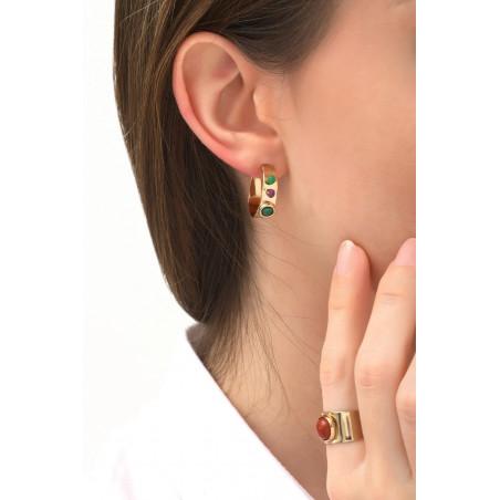 Boucles d'oreilles créoles percées fantaisies grenat et jade | multicolore76089