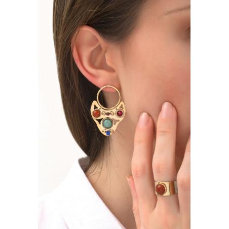 Boucles d'oreilles percées mode lapis lazuli et jaspe | multicolore76091