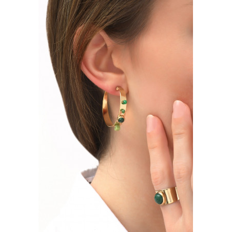 Feminine agate and malachite butterfly fastening hoop earrings | green76092