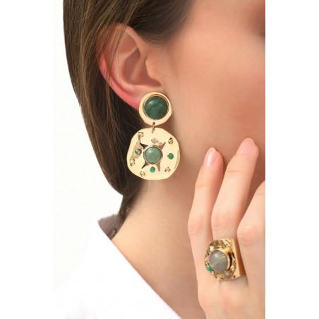 Boucles d'oreilles clips baroques agate jade et jaspe | vert76095
