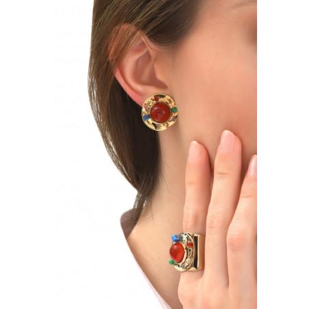 Boucles d'oreilles clips fantaisies jade et lapis lazuli   multicolore76096