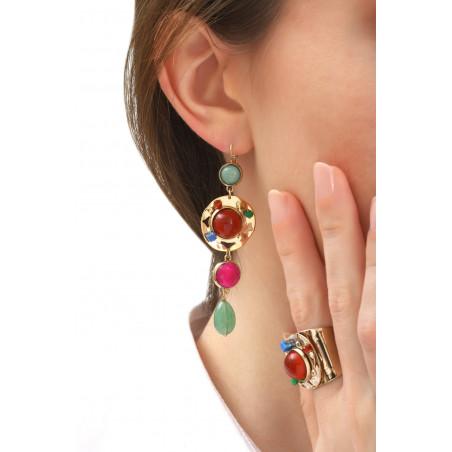 Boucles d'oreilles dormeuses éclatantes aventurine et jade   multicolore76099