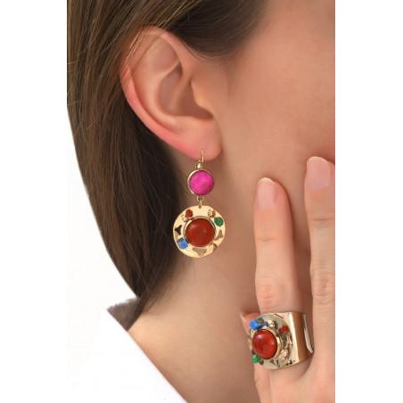 Fantasy jade and carnelian sleeper earrings l multicoloured76100