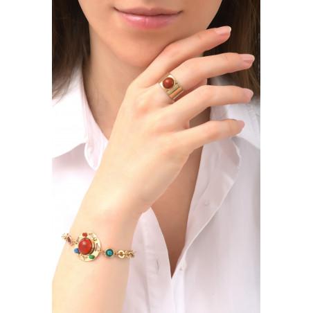Sparkling garnet, jade and lapis lazuli flexible bracelet l multicoloured76102