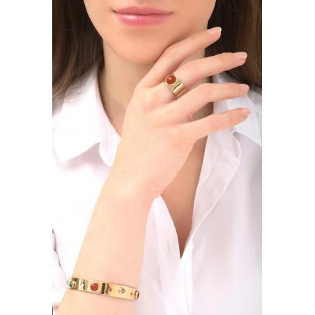 Bracelet jonc tendance cornaline et grenat | multicolore76104