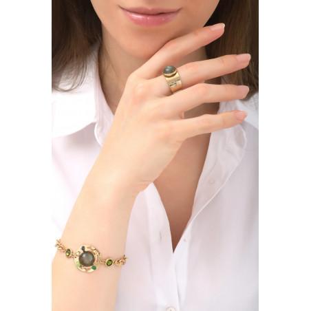 Glamorous jade and aventurine flexible bracelet | Green76106