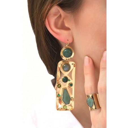 On-trend agate jade and jasper sleeper earrings l green76110