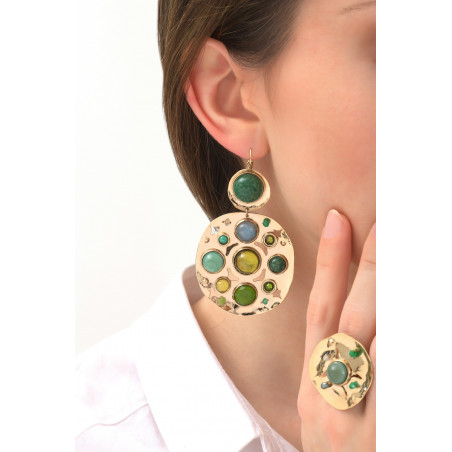 Refined agate jade and jasper sleeper earrings l green76111