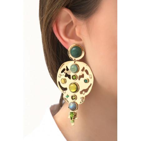 Radiant agate jade and jasper clip-on earrings l green76113