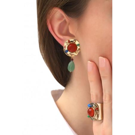 Modern jade and lapis lazuli clip-on earrings l multicoloured76114