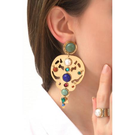 Arty garnet jasper and lapis lazuli clip-on earrings l multicoloured76115