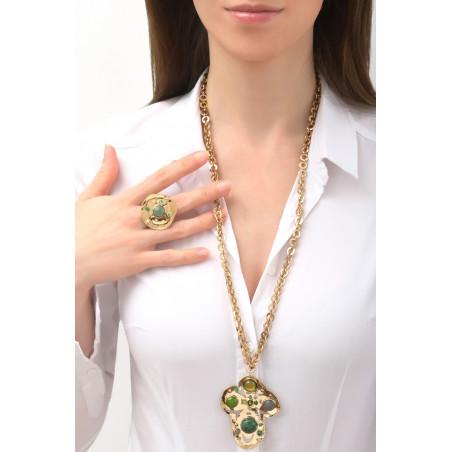 Romantic agate jasper and malachite pendant necklace   green76117