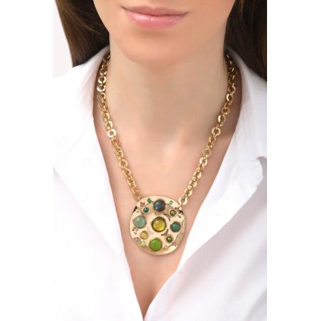Collier mi-long élégant agate jade et malachite | vert76118