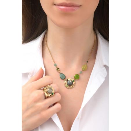 Poetic aventurine jade and labradorite mid-length necklace l green76119