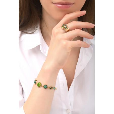 Fashionable aventurine, jasper crystal flexible bracelet l green76123