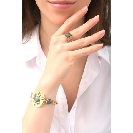 Bracelet souple poétique jaspe et labradorite | vert76125