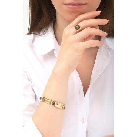Bracelet jonc féminin agate et jade | vert76126