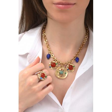 Sunny garnet, jade and lapis lazuli mid-length necklace l multicoloured76127
