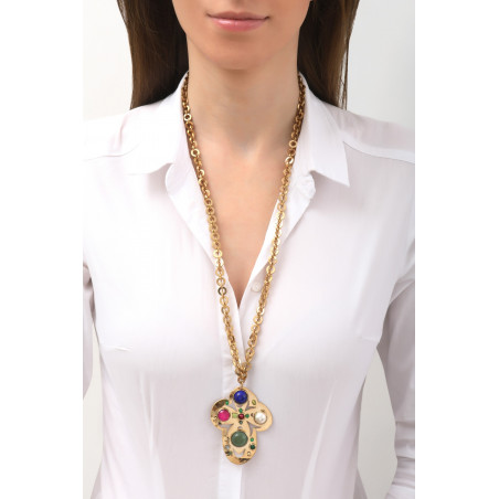 Sparkly garnet, jade and lapis lazuli pendant necklace l multicoloured76128