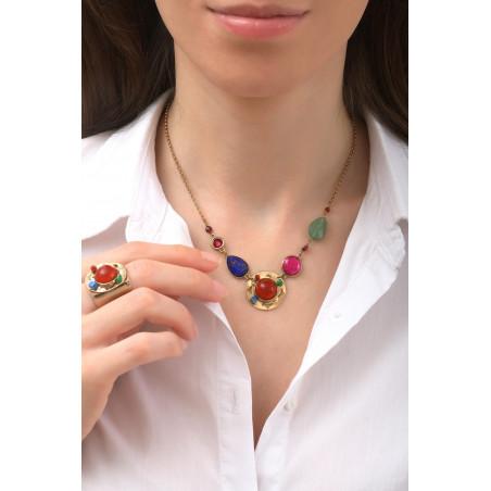 Fashionable garnet, and lapis lazuli mid-length necklace l multicoloured76130