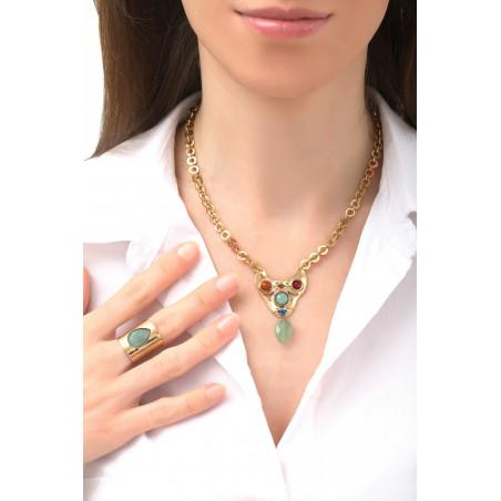 Fashionable aventurine and jasper pendant necklace | green76132