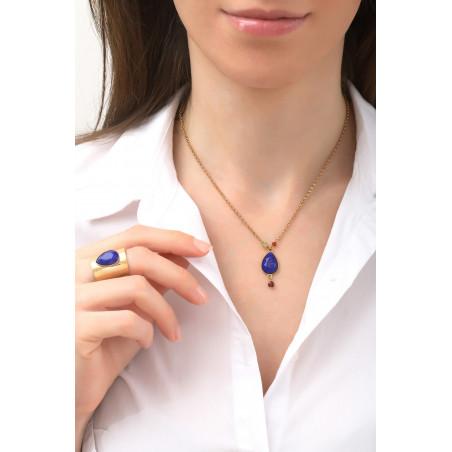 Modern carnelian garnet and peridot pendant necklace | multicoloured76133