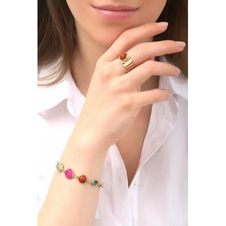 Pop garnet, jasper crystal flexible bracelet l multicoloured76134