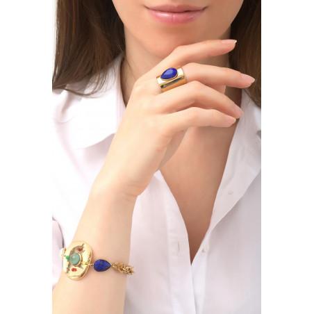 Exuberant garnet, labradorite and mother-of-pearl cabochon flexible bracelet l multicoloured76136