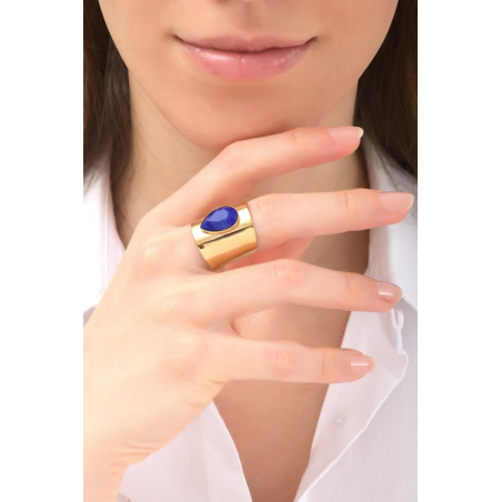 Sensual hammered metal and cabochon adjustable ring | blue76139