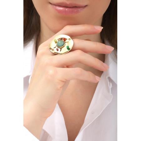 On-trend hammered metal garnet and jade adjustable ring   green76141