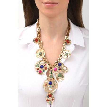 Dazzling jade, lapis lazuli and malachite breastplate necklace l multicoloured76142