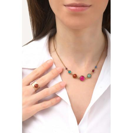 Feminine garnet and lapis lazuli mid-length necklace l multicoloured76143