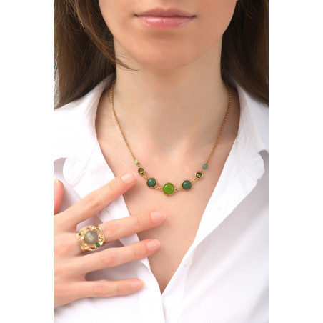 Poetic jasper aventurine and jade mid-length necklace l green76144