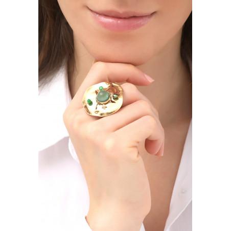 Bohemian hammered metal agate and jade adjustable ring   khaki76145
