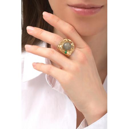 Chic hammered metal jade and labradorite adjustable ring | green76146
