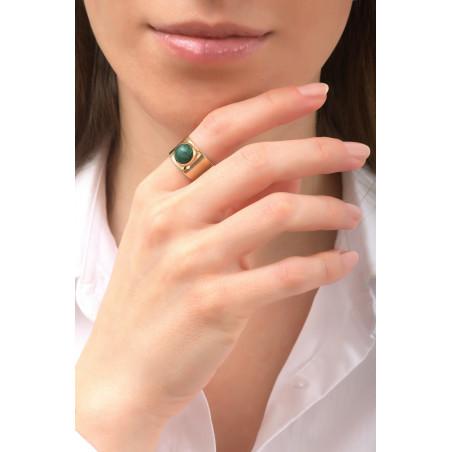 Glamorous hammered metal and jasper adjustable ring | green76148
