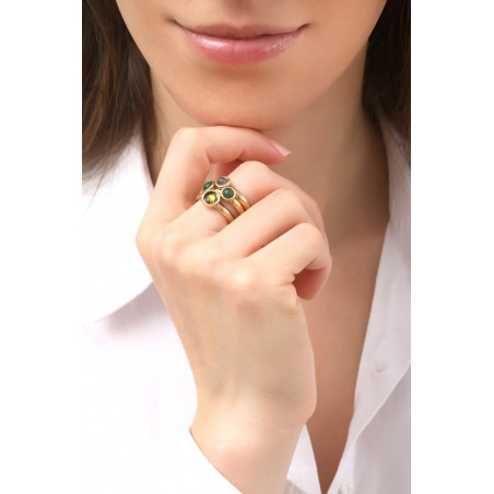 Poetic jasper and malachite adjustable cocktail ring l green76149
