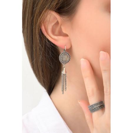Boucles d'oreilles dormeuses tendance métal | argenté76151