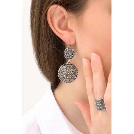 Boucles d'oreilles dormeuses arty métal   argenté76153