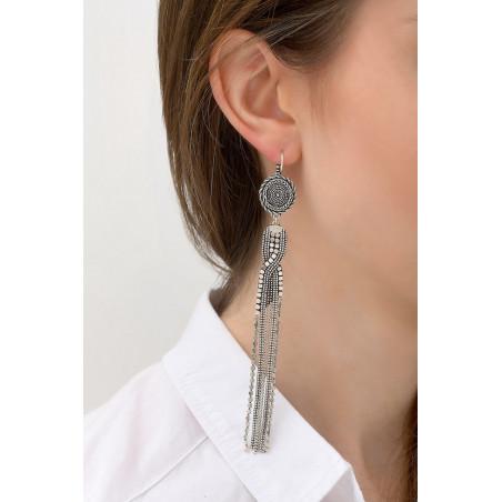 Boucles d'oreilles dormeuses fantaisies métal | argenté76154