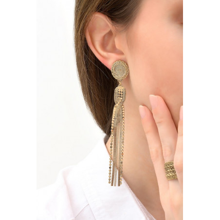 Vintage metal clip-on earrings | gold-plated76161