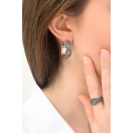 Boucles d'oreilles créoles percées précieuses métal   argenté76166