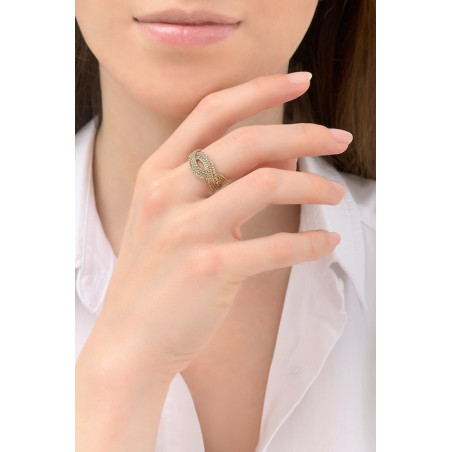 Poetic plaited metal adjustable ring | gold-plated76170