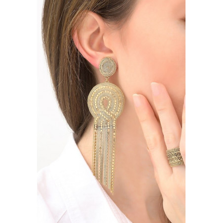Festive metal clip-on earrings   gold-plated76174