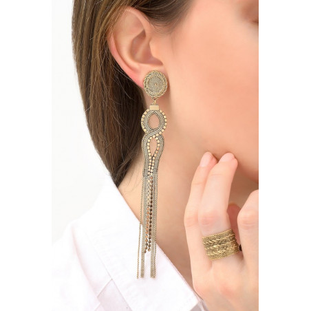 Contemporary metal clip-on earrings | gold-plated76175