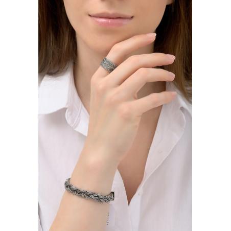 Bracelet souple glamour métal tressé   argenté76184
