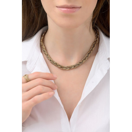 Glamorous plaited metal choker necklace | gold-plated76197